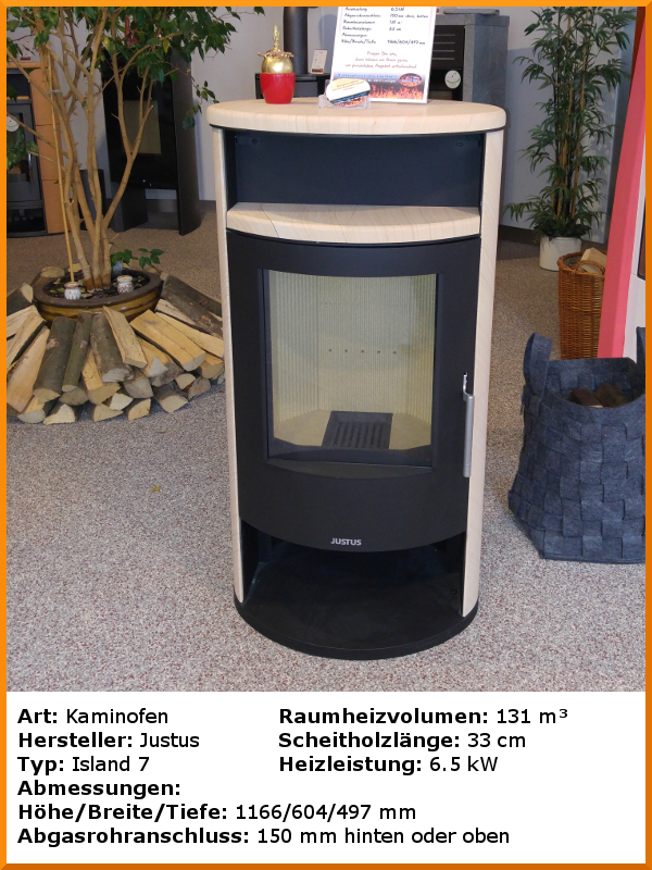 ausstellungs fen kaminofen justus island 7. Black Bedroom Furniture Sets. Home Design Ideas